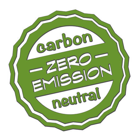 green round zero emission carbon neutral rubber stamp print vector illustration Ilustrace