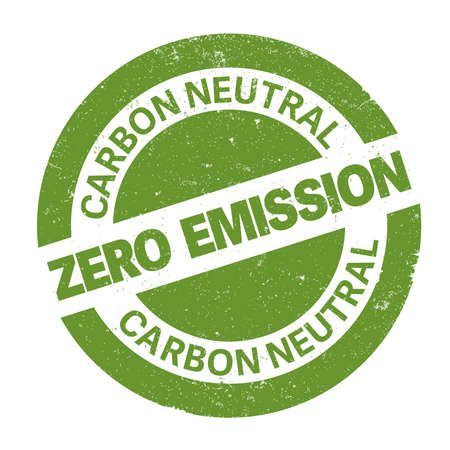 green round zero emission carbon neutral rubber stamp print vector illustration