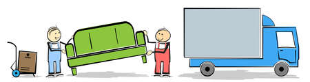 household moving concept with stickman workers transporting furniture and boxes to or from truck vector illustration
