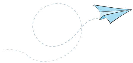 paper plane scribble and spiral flight path, air travel concept vector illustration