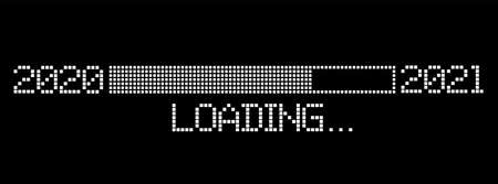 pixelated progress bar year 2020 to 2021 loading vector illustration