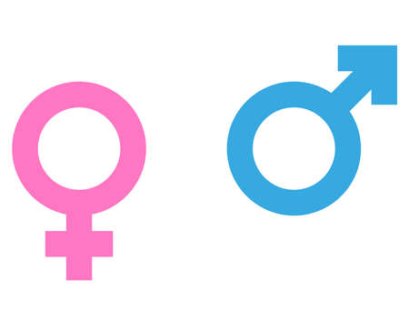 male and female gender symbols or icons vector illustration