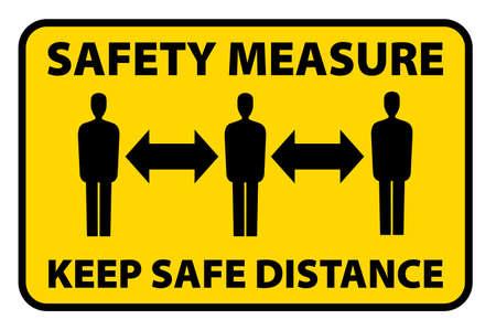 mesure de sécurité garder un signe de distance de sécurité, illustration vectorielle de précaution en cas de pandémie de virus corona