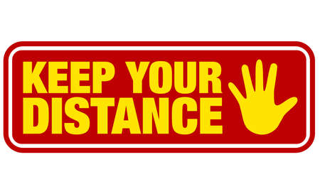 red and yellow keep your distance sign with stop gesture symbol vector illustration