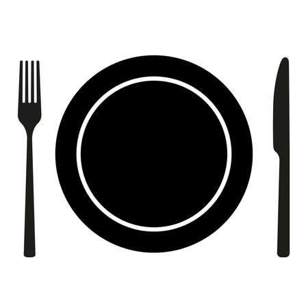 plate with knife and fork isolated on white background vector illustration