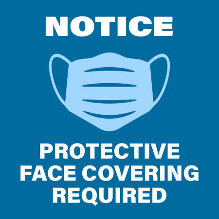 blue protective face covering required sign with face mask symbol vector illustration Vettoriali