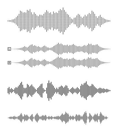 set of audio waveforms or sound waves, speech, noise or music symbol vector illustration