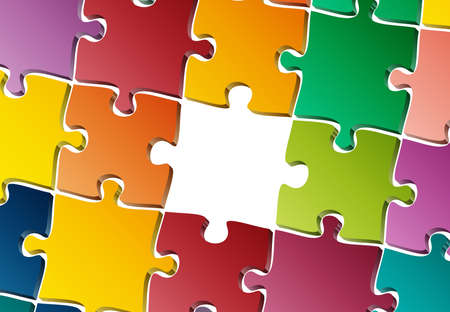 incomplete jigsaw puzzle with one piece missing template isolated on white vector illustration
