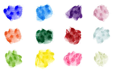 collection of pastel watercolor splashes isolated on white background vector illustration