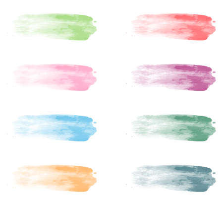 collection of pastel watercolor brush strokes isolated on white background vector illustration Illusztráció