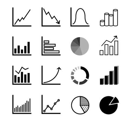financial and business diagram and graph icon set vector illustration