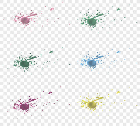 collection of transparent paint or watercolor splashes isolated on transparent background vector illustration Illusztráció