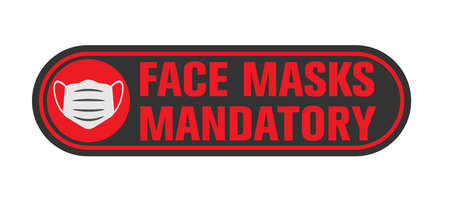 FACE MASKS MANDATORY sign or sticker for businesses with protective face covering symbol, covid-19 safety measure information sign