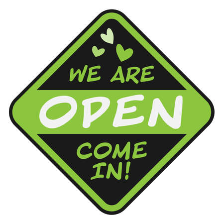 friendly COME IN WE ARE OPEN sign with green hand-drawn hearts vector illustration