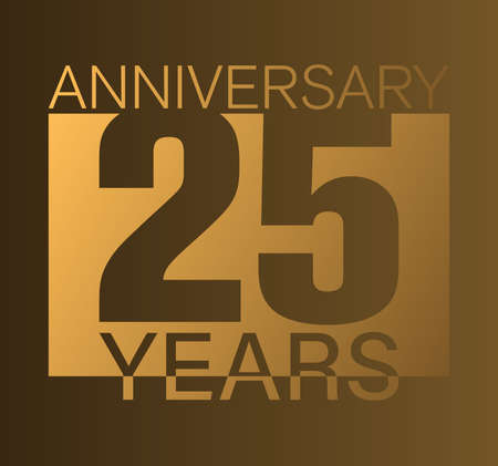 Gold colored 25 years anniversary logo or label vector illustration