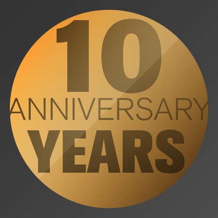 Gold colored 10 years anniversary logo or label vector illustration