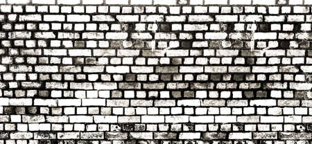 wide black and white stained and aged brick wall background
