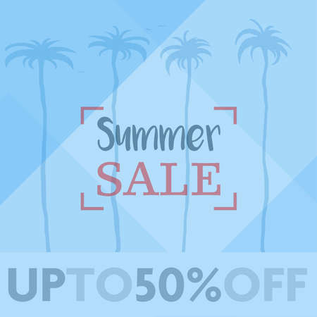 blue square SUMMER SALE advertisement sign or sticker with palm trees vector illustration
