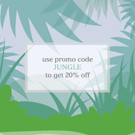 square jungle promo code voucher template for webiste vector illustration