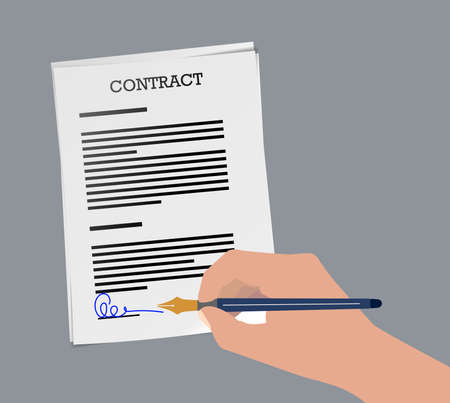 vector illustration of person signing contract with fountain pen