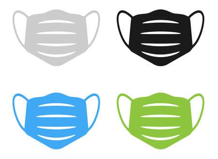 medical face mask or protectice face covering icon set vector illustration Illusztráció
