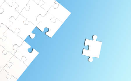 top view of incomplete jigsaw puzzle with one piece left on bright blue background, completing a task or solving a problem concept