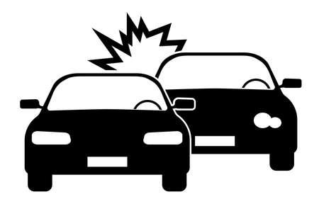 simple black and white car crash or road accident icon vector illustration Illusztráció