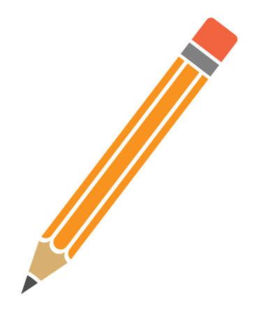 orange lead pencil with eraser icon or symbol vector illustration
