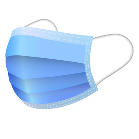 blue protective medical face mask symbol vector illustration