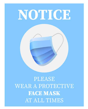 please wear a face mask sign or sticker with blue protective face mask symbol vector illustration Illustration