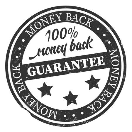 Grungy 100 percent money back guarantee stamp or sticker vector illustration Illustration
