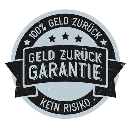 vintage style grungy 100 percent no risk money back guarantee stamp or sticker in German language vector illustration