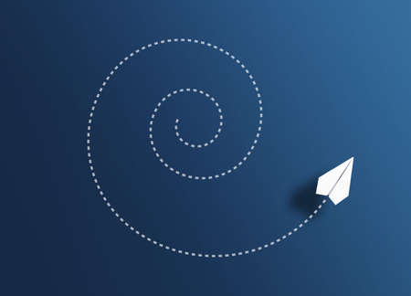 top view of paper plane flying spiral path against blue background, going around in circles concept