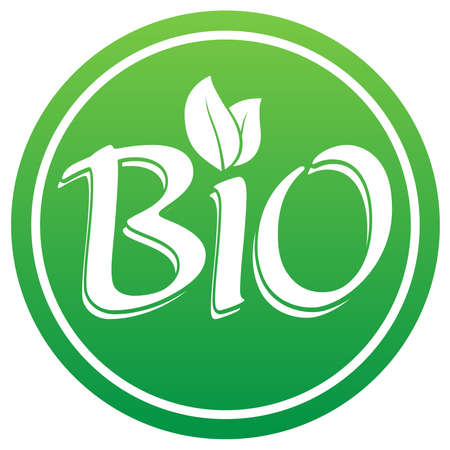 green round BIO logo or label with leaves vector illustration