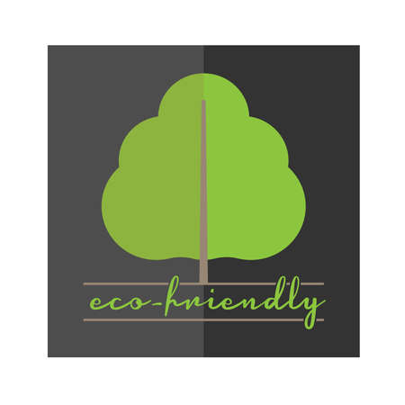 eco-friendly logo or label with tree symbol and text, vector illustration