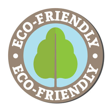 Round eco-friendly sticker or label with tree symbol and text Illustration