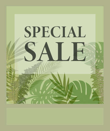 SPECIAL SALE promotional flyer template for website or social media with tropical plant leaves pattern