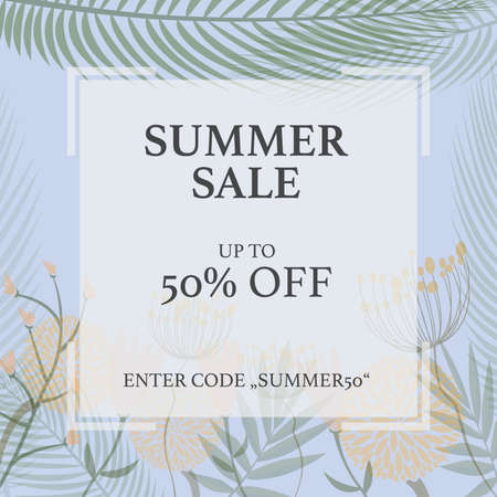 SUMMER SALE promotional flyer template for website or social media with field flower pattern vector illustration