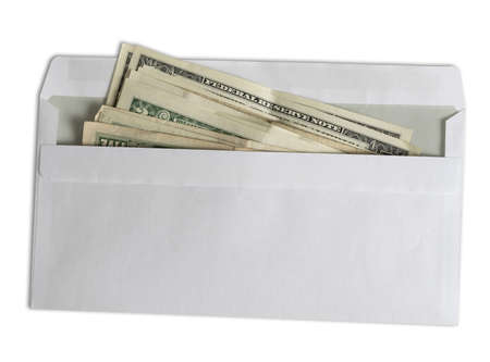 directly above view of dollar bills in white envelope isolated on white background