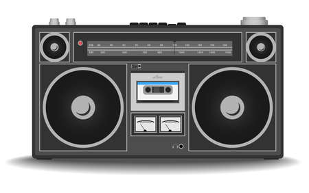 classic 80s boombox cassette tape recorder isolated on white vector illustration