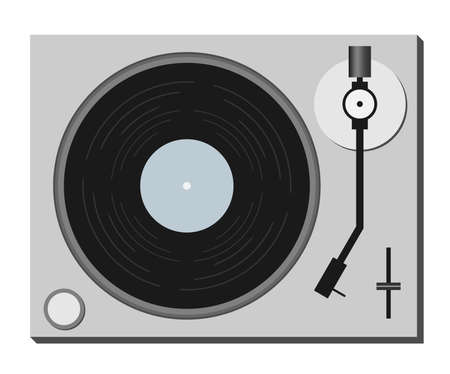 simple flat record player symbol isolated on white vector illustration