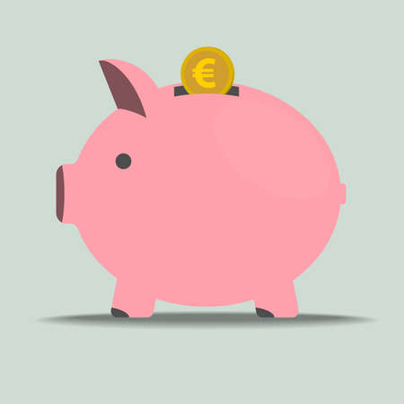 pink piggy bank with euro coin vector illustration, finance and savings concept