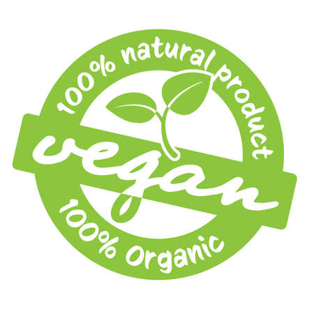 green round 100 percent natural vegan product label or stamp vector illustration  イラスト・ベクター素材
