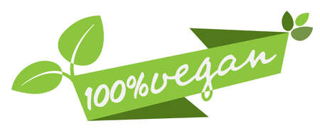 green 100 percent vegan banner or label with leaves vector illustration
