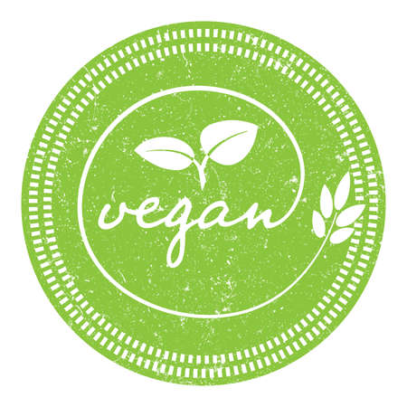 grungy green round VEGAN label or stamp vector illustration