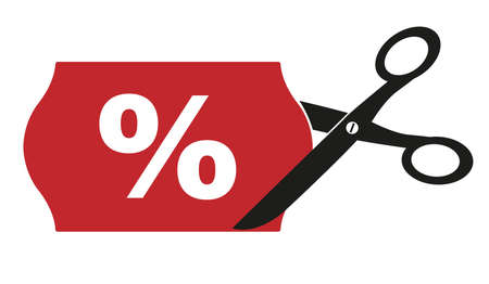 price cut or price reduction symbol with scissors cutting label with percentage sign vector illustration Illustration