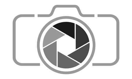 grey camera icon with aperture vector illustration