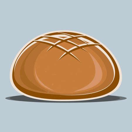 brown crusty artisan sourdough bread symbol vector illustration