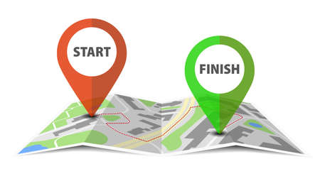 navigation concept, start and finish location pins or markers on map vector illustration