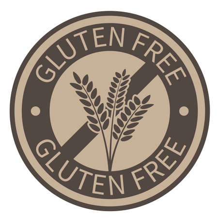 round gold colored gluten free label with wheat ears vector illustration
